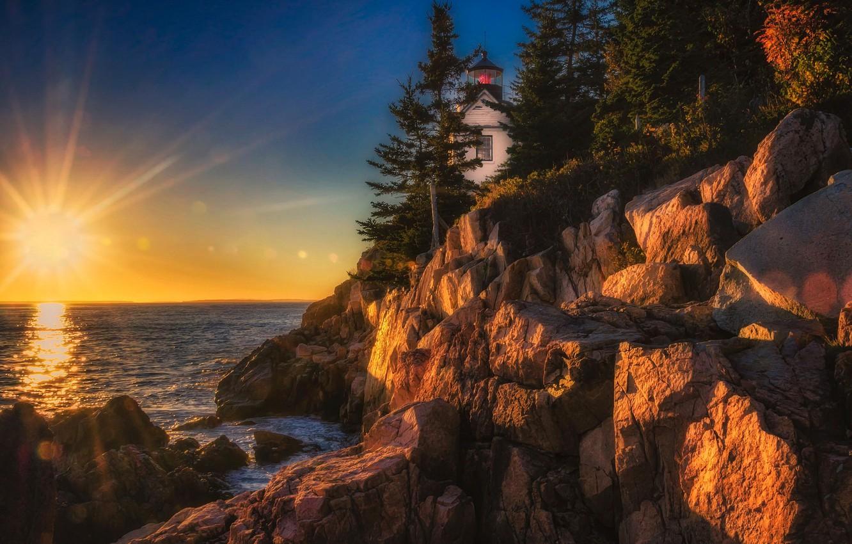 Фото обои закат, океан, скалы, маяк, Maine, Мэн, Acadia National Park, Национальный парк Акадия, Bass Harbor Head ...