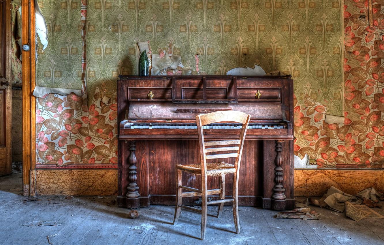 Фото обои музыка, стул, пианино