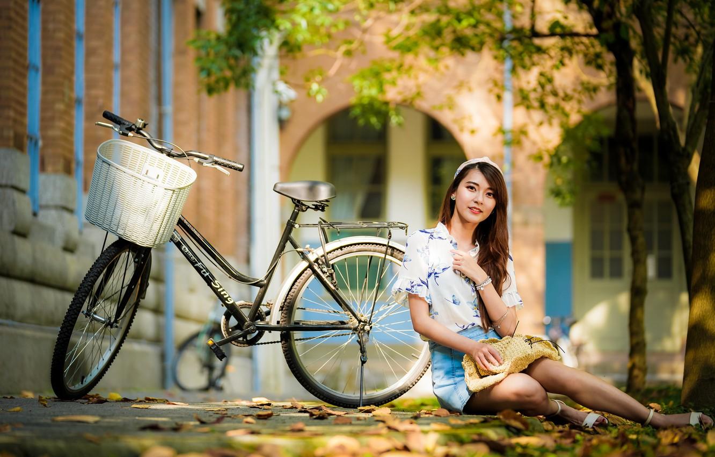 Фото обои лето, девушка, велосипед, азиатка