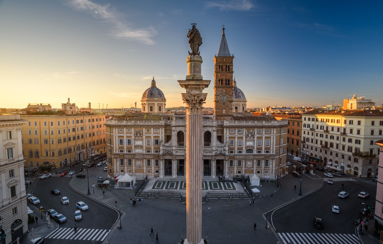 Фото обои здания, дома, площадь, Рим, Италия, церковь, Italy, колонна, Rome, базилика, Basilica di Santa Maria Maggiore, …