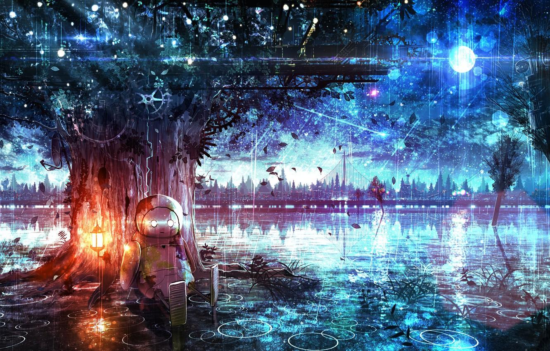 Фото обои природа, дождь, дерево, робот, дома, рисунки