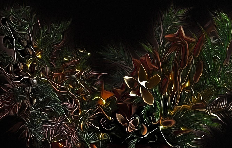 Фото обои цветы, ветки, абстракция, рендеринг, фантазия, черный фон, картинка, сказочная ночь, причудливые растения
