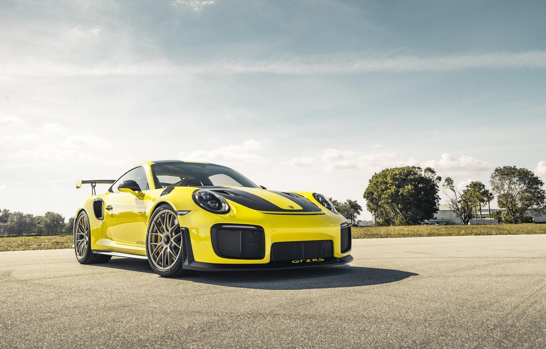 Фото обои 911, Porsche, Sun, Yellow, VAG, Sight, GT2RS