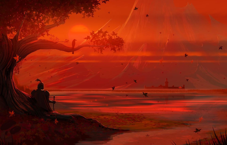 Фото обои Закат, Солнце, Вечер, Дерево, Осень, Озеро, Листья, Замок, Берег, Арт, Art, Tree, Sun, Sunset, Рыцарь, …