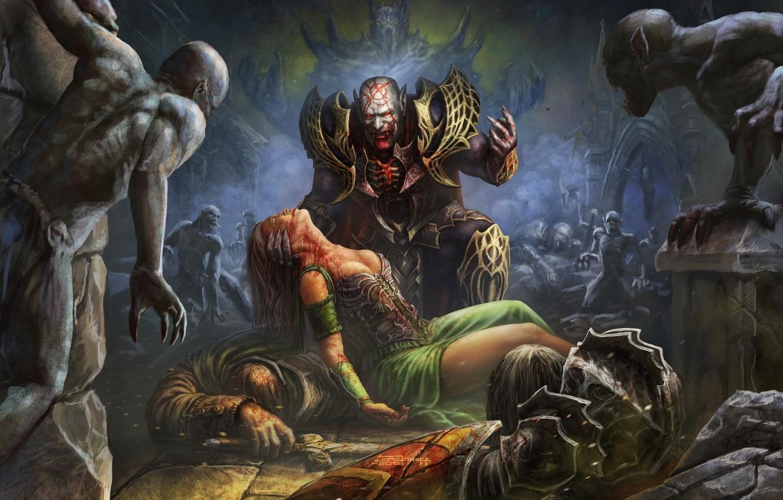 Фото обои dark, girl, sword, horror, blood, fantasy, undead, armor, artwork, warriors, shield, fantasy art, Demon, creatures, …