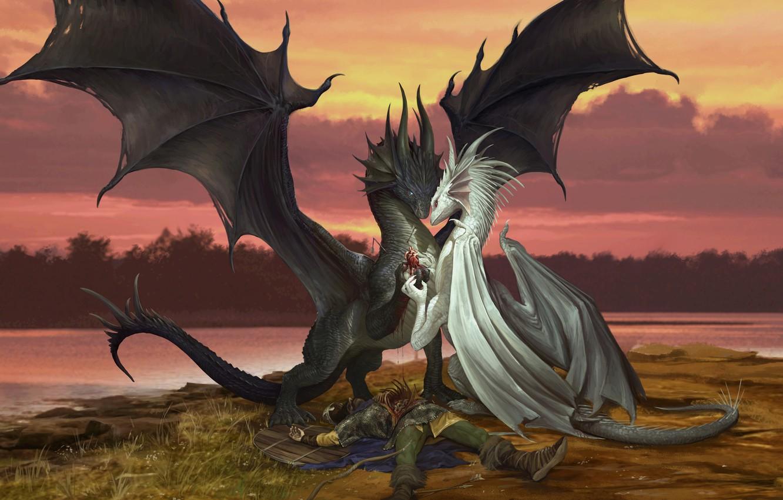 Фото обои любовь, фентези, дракон, сердце, пара, валентинка, признание, День Святого Валентина, Godfrey Escota, Valentine Dragons