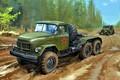 Картинка Лес, СССР, ГАЗ-69, Грунтовая дорога, ЗиЛ-131В, Седельный тягач
