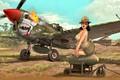 Картинка Девушка, лётчик, WWII, P-40N, боевой самолёт, авиабомба, подвесной топливный бак, ''Lulu Belle''