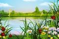 Картинка лето, цветы, ягоды, речка