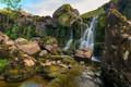 Картинка ручей, камни, скалы, Англия, водопад, мох, Wales
