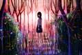 Картинка лес, девушка, лестница