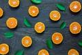 Картинка листья, оранжевый, фон, ломтики, background, fruit, orange, мандарин, mandarin, slice
